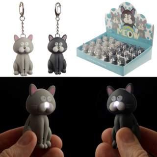 Kissa -avaimenperä/taskulamppu
