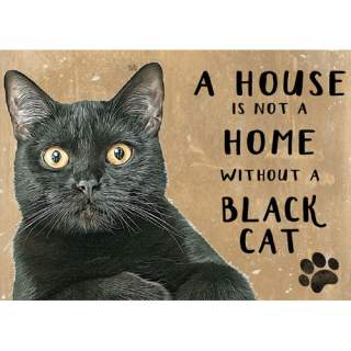 Musta kissa -peltikyltti 20x15 cm